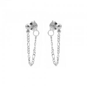 Karma oorbellen chain figaro double dot zilver