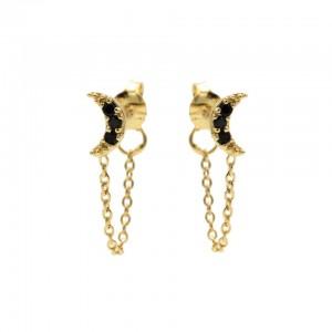 Karma oorbellen chain moon black zirconia goud