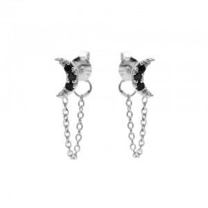 Karma oorbellen chain moon black zirconia zilver