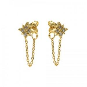 Karma oorbellen chain morningstar zirconia goud