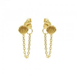 Karma oorbellen chain shell goud