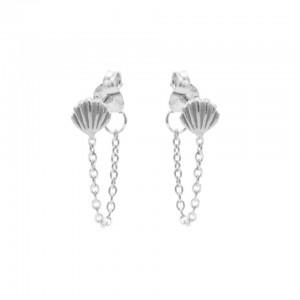 Karma oorbellen chain shell zilver