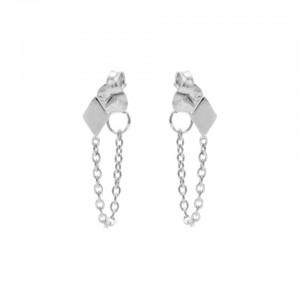Karma oorbellen chain symbols diamond zilver