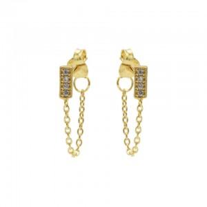 Karma oorbellen chain symbols rectangle zirconia goud