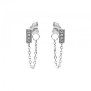 Karma oorbellen chain symbols rectangle zirconia zilver