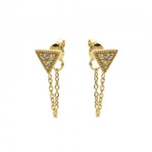 Karma oorbellen chain symbols triangle zirconia goud
