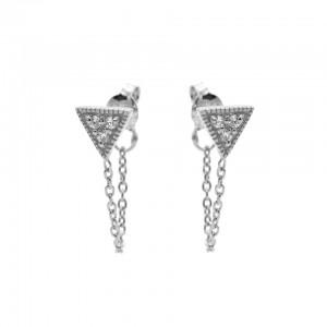 Karma oorbellen chain symbols triangle zirconia zilver