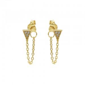 Karma oorbellen chain triangle zirconia goud