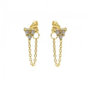 Karma oorbellen chain triple zirconia goud