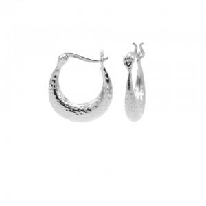 Karma oorbellen hammered 925 sterling silver 15mm (per paar)