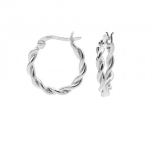 Karma oorbellen hoops chunky twisted 925 sterling silver 16mm (per paar)