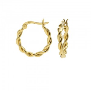 Karma oorbellen hoops chunky twisted goldplated 925 sterling silver 16mm (per paar)