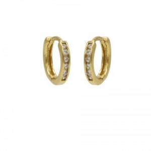 Karma oorbellen hoops square zirconia goud (per paar)