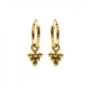 Karma oorbellen hoops symbols 6 dots triangle goud (per paar)