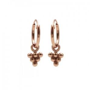 Karma oorbellen hoops symbols 6 dots triangle rosé (per paar)