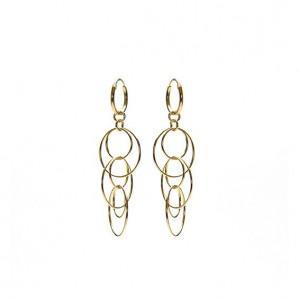 Karma oorbellen hoops symbols big hanging circles goud 12mm (per paar)