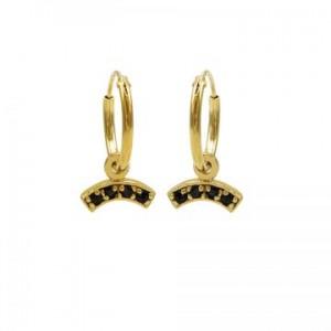 Karma oorbellen hoops symbols black zirconia bow goud (per paar)
