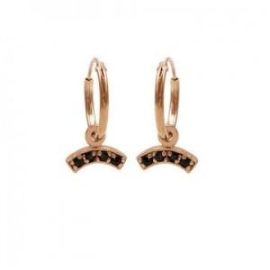 Karma oorbellen hoops symbols black zirconia bow rosé (per paar)