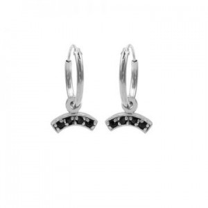 Karma oorbellen hoops symbols black zirconia bow zilver (per paar)