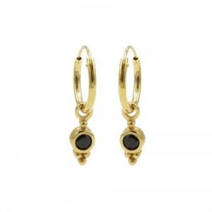 Karma oorbellen hoops symbols black zirconia dot triple dots goud (per paar)
