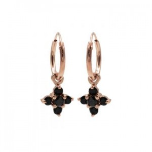 Karma oorbellen hoops symbols black zirconia flower fall rosé (per paar)
