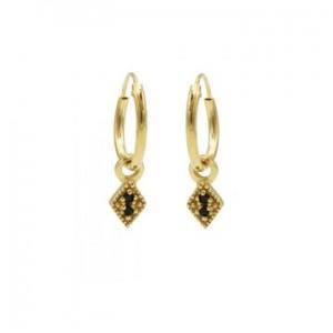 Karma oorbellen hoops symbols black zirconia mini diamond goud (per paar)