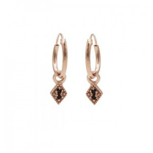 Karma oorbellen hoops symbols black zirconia mini diamond rosé (per paar)
