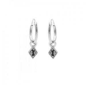 Karma oorbellen hoops symbols black zirconia mini diamond zilver (per paar)
