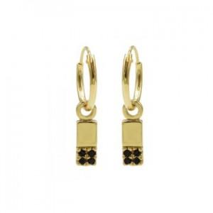 Karma oorbellen hoops symbols black zirconia rectangle 2 goud (per paar)