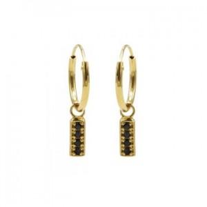 Karma oorbellen hoops symbols black zirconia rectangle goud (per paar)