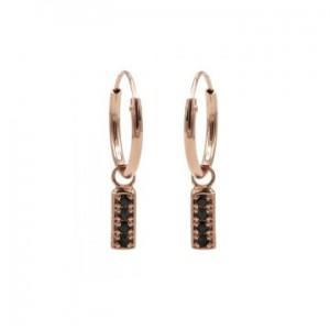 Karma oorbellen hoops symbols black zirconia rectangle rosé (per paar)