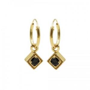 Karma oorbellen hoops symbols black zirconia square diamond goud (per paar)