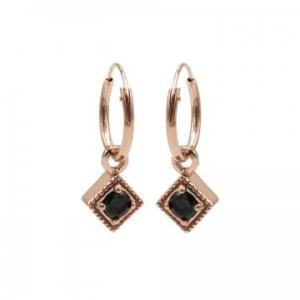 Karma oorbellen hoops symbols black zirconia square diamond rosé (per paar)
