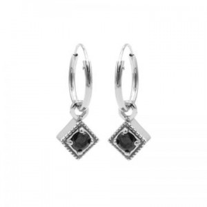 Karma oorbellen hoops symbols black zirconia square diamond zilver (per paar)