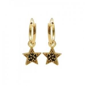 Karma oorbellen hoops symbols black zirconia star dots goud (per paar)