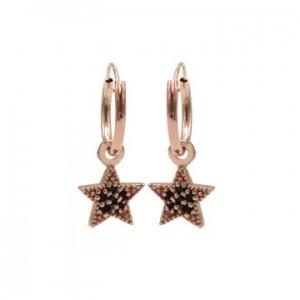 Karma oorbellen hoops symbols black zirconia star dots rosé (per paar)