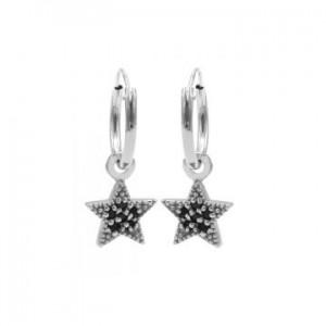 Karma oorbellen hoops symbols black zirconia star dots zilver (per paar)