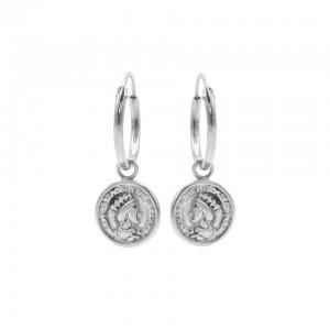 Karma oorbellen hoops symbols coin 2 zilver (per paar)