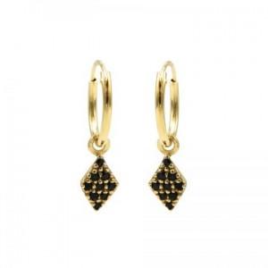 Karma oorbellen hoops symbols diamond black zirconia goud