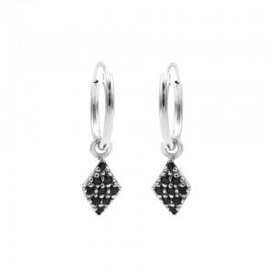 Karma oorbellen hoops symbols diamond black zirconia zilver