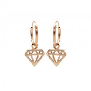 Karma oorbellen hoops symbols diamond rosé 12mm (per paar)