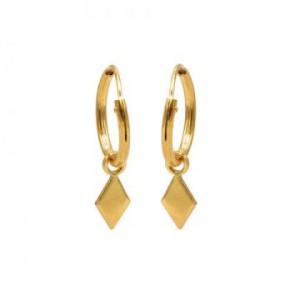 Karma oorbellen hoops symbols diamond shape goud (per paar)