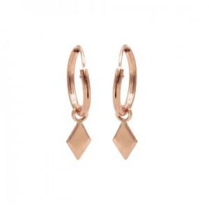 Karma oorbellen hoops symbols diamond shape rosé (per paar)