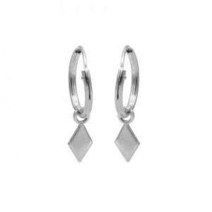 Karma oorbellen hoops symbols diamond shape zilver (per paar)