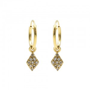 Karma oorbellen hoops symbols diamond zirconia goud