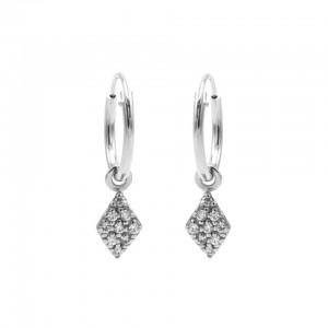 Karma oorbellen hoops symbols diamond zirconia zilver
