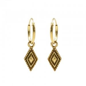 Karma oorbellen hoops symbols dots line diamond goud (per paar)