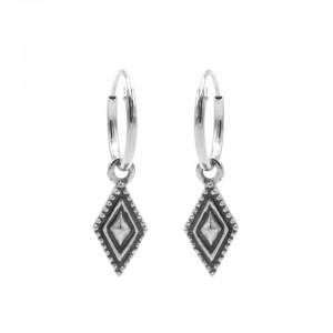 Karma oorbellen hoops symbols dots line diamond zilver (per paar)