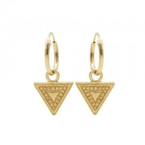 Karma oorbellen hoops symbols dots line triangle goud 12mm (per paar)