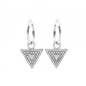 Karma oorbellen hoops symbols dots line triangle zilver 12mm (per paar)